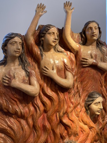 Seven Souls in Purgatory (Spain, ca 1700) - Exceptional and monumental -