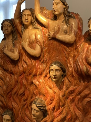 Antiquités - Seven Souls in Purgatory (Spain, ca 1700) - Exceptional and monumental
