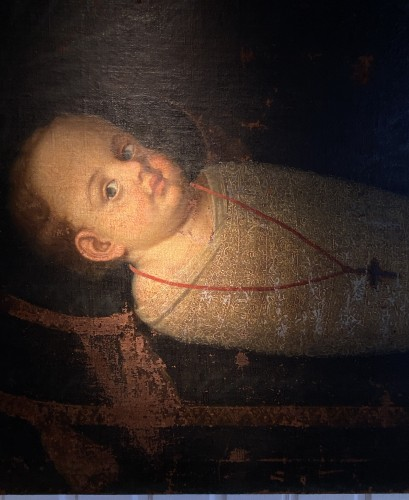 Commemorative Funerary Painting of a Swaddled Child (Italy, 17th cent.) - Paintings & Drawings Style Renaissance