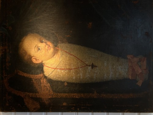 Paintings & Drawings  - Commemorative Funerary Painting of a Swaddled Child (Italy, 17th cent.)