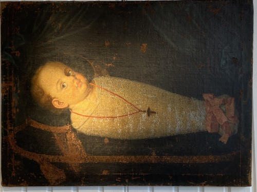 17th century - Commemorative Funerary Painting of a Swaddled Child (Italy, 17th cent.)