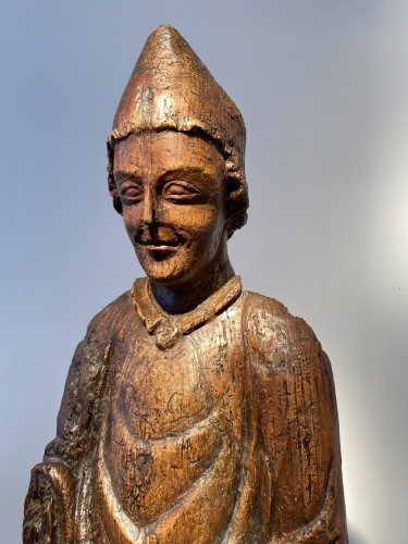 Enthroned Bishop - France, 14th century - Middle age