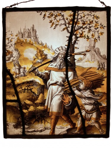 Stained Glass Abraham and Isaac - Flanders 16th century