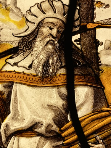 <= 16th century - Stained Glass Abraham and Isaac - Flanders 16th century