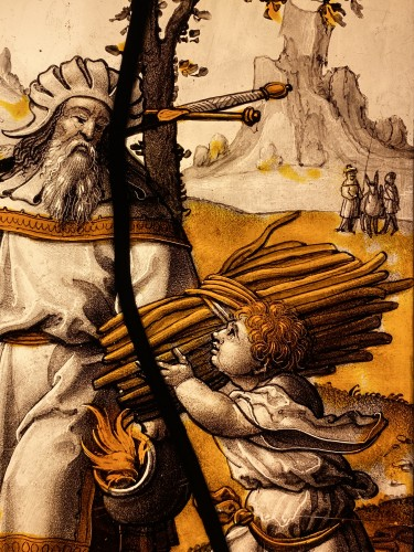 Antiquités - Stained Glass Abraham and Isaac - Flanders 16th century