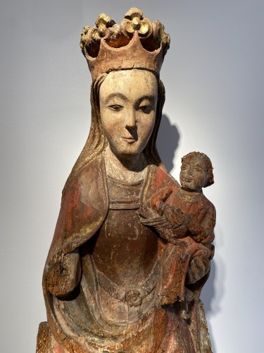 Sculpture  - Enthroned Virgin with Child, France 14th century