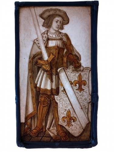 Stained Glass Armorial Panel with Harnessed Knight (France, 16th century)