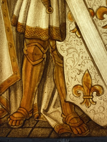 Stained Glass Armorial Panel with Harnessed Knight (France, 16th century) -