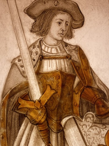 <= 16th century - Stained Glass Armorial Panel with Harnessed Knight (France, 16th century)
