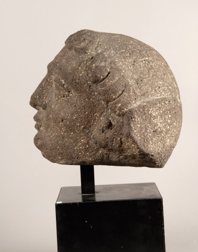 Head of a Monk (France, 15th century) - Sculpture Style Middle age