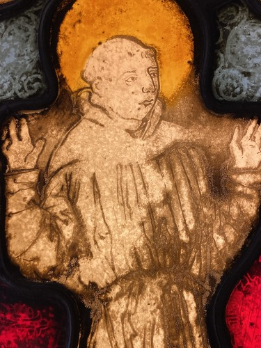 Saint Francis Stained Glass (France, 16th cent) - Religious Antiques Style Middle age