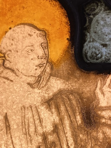 Religious Antiques  - Saint Francis Stained Glass (France, 16th cent)