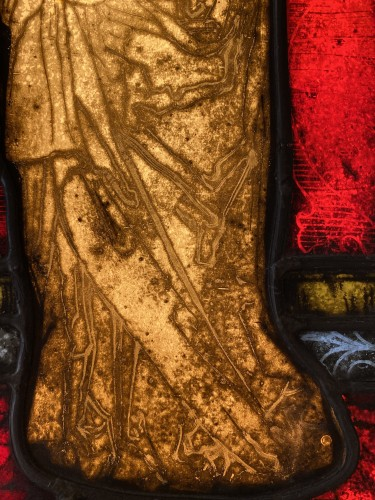 Religious Antiques  - Mary Magdalene Stained Glass (France, 16th cent)