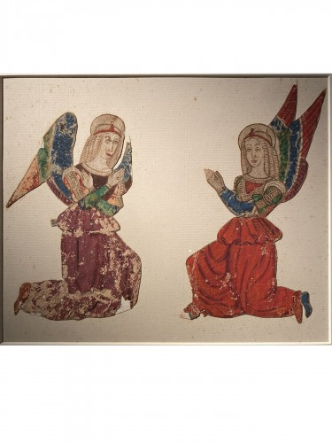 Two angels, Tempera and ink on paper,  Italy 16th century
