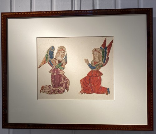 Two angels, Tempera and ink on paper,  Italy 16th century - Paintings & Drawings Style Renaissance