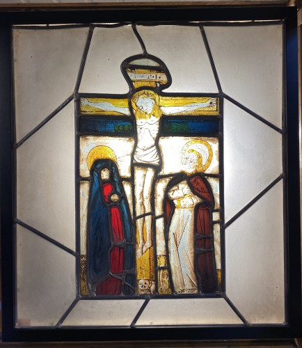 Stained glass with Crucifixion (Germany, 15th) - Religious Antiques Style Renaissance