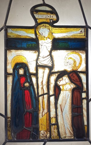 Religious Antiques  - Stained glass with Crucifixion (Germany, 15th)