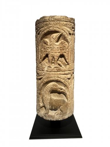 Romanesque column fragment, Italy 12th century
