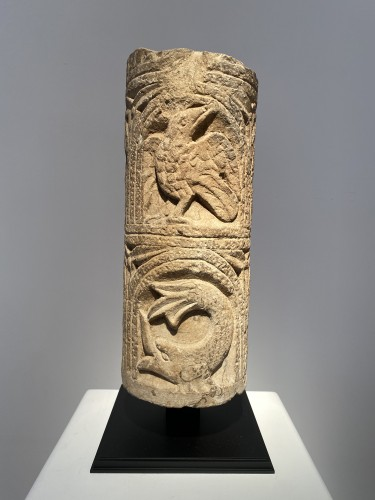 Romanesque column fragment, Italy 12th century - Sculpture Style Middle age