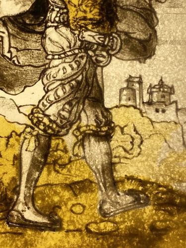 Three stained glass panels of 'Landsknechte', Switzerland16th century -