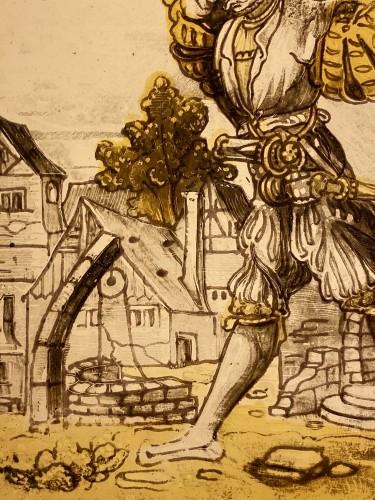 Antiquités - Three stained glass panels of 'Landsknechte', Switzerland16th century
