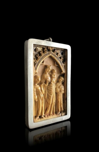 Small Gothic Ivory Plaque (France, ca 1350) - Religious Antiques Style Middle age