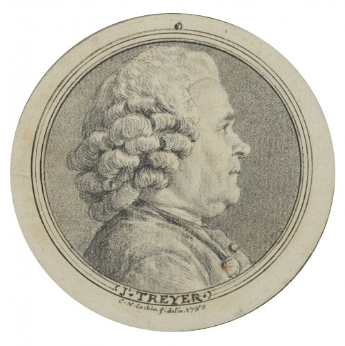 Charles-Nicolas Cochin (1715 - 1790) - portrait of Joseph Treyer - Paintings & Drawings Style Louis XVI