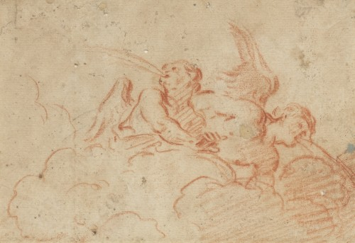Two Angels blowing, a red chalk on paper by Charles de La Fosse