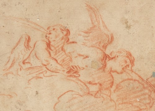 Two Angels blowing, a red chalk on paper by Charles de La Fosse  - Paintings & Drawings Style Louis XIV