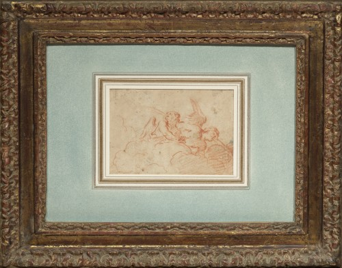 Paintings & Drawings  - Two Angels blowing, a red chalk on paper by Charles de La Fosse