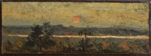 Sunset on the sand sea, an oil on canvas by Henri Joseph Harpignies