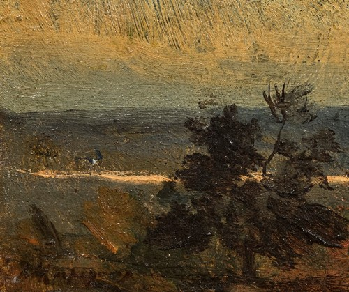 Sunset on the sand sea, an oil on canvas by Henri Joseph Harpignies  - Paintings & Drawings Style