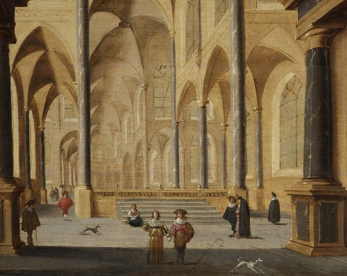 Church interior, oil on parquet panel by Jans Juriaensz van Baden (1604-1677)