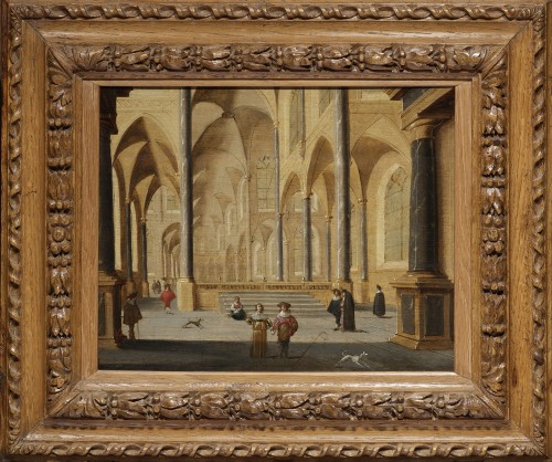 Church interior, oil on parquet panel by Jans Juriaensz van Baden (1604-1677) - Paintings & Drawings Style