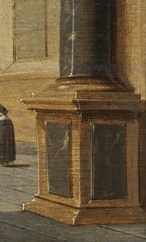 Church interior, oil on parquet panel by Jans Juriaensz van Baden (1604-1677) -
