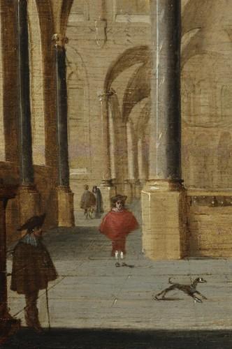 17th century - Church interior, oil on parquet panel by Jans Juriaensz van Baden (1604-1677)