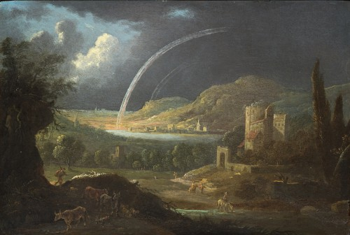 River Landscape with Sheperds and Ruined Architecture by Jan van Bunnik