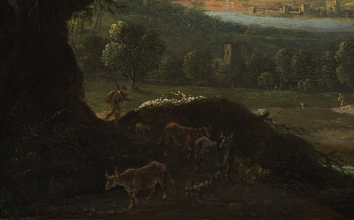 River Landscape with Sheperds and Ruined Architecture by Jan van Bunnik -