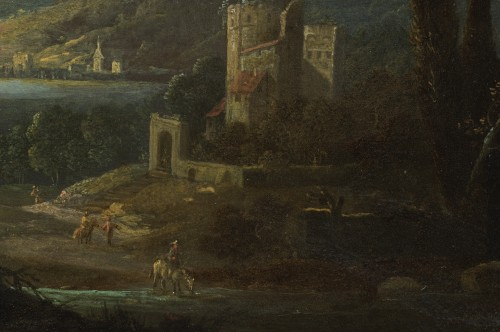 17th century - River Landscape with Sheperds and Ruined Architecture by Jan van Bunnik