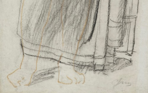 19th century - Astrée, study for the Golden Age - drawing by Jean-Auguste-Dominique Ingres