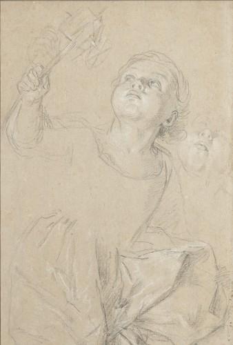 Portrait of Marie Rosalie van Loo holding a windmill by Carle van Loo
