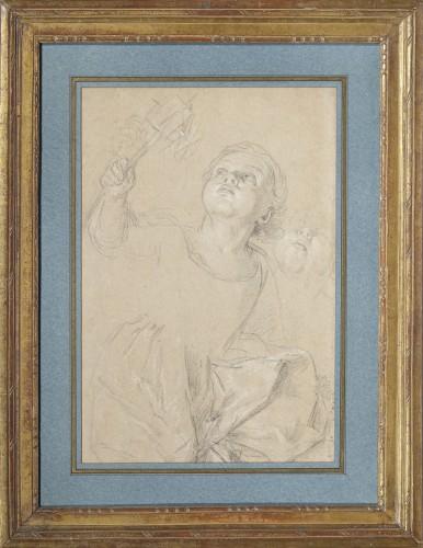 Portrait of Marie Rosalie van Loo holding a windmill by Carle van Loo  - Paintings & Drawings Style Louis XV