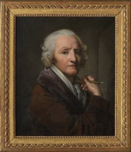 Portrait of the painter Jean-Baptiste Greuze by his daughter Anna Greuze - Paintings & Drawings Style Empire