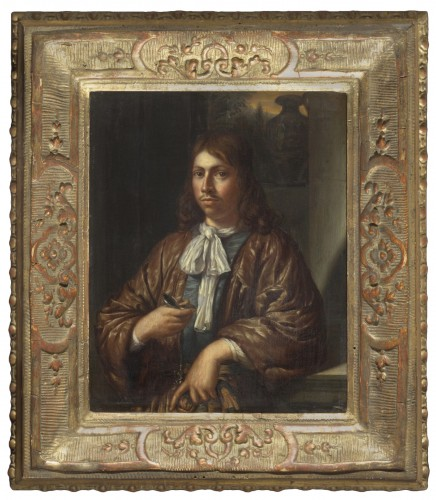 Attributed to Gonzales Coques - Portrait of a gentleman with a watch