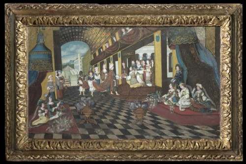 Project for a fan - Turkish prince arriving to the seraglio - Paintings & Drawings Style Louis XIV