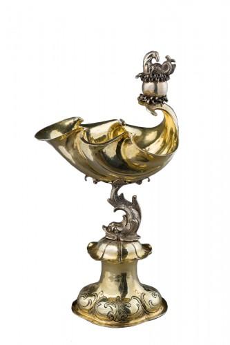 A parcel-gilt shell shaped cup  (Muschelpokal)