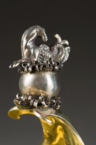 A parcel-gilt shell shaped cup  (Muschelpokal) -