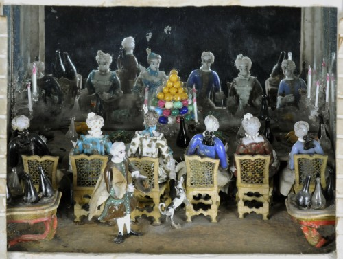 An exceptional lampwork glass scene -  Banquet in a house