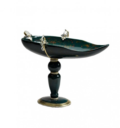 A gold and enamel mounted bloodstone cup on foot