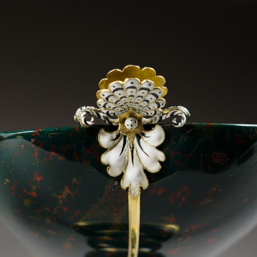 A gold and enamel mounted bloodstone cup on foot -